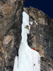 Andrea climbing Cassiopeo