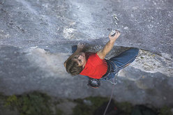 Matej Sova on Privid 8c+ at Bohinjska Bela, Slovenia