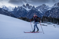 Martina Valmassoi setting the new female 24-hour uphill ski record on 21-22/03/2021