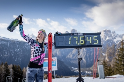 Martina Valmassoi celebrating the new female 24-hour uphill ski record on 21-22/03/2021. 'I guess this is by far my proudest result in my athlete's career.'