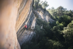 William Bosi making the first ascent of King Capella at Siurana, Spain. The 22-year-old has proposed the grade of 9b+.