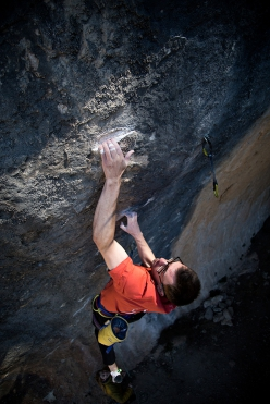 William Bosi making the first ascent of King Capella 9b+ at Siurana, Spain.