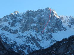 The line up the North Face of Široka peč climbed by Lindič, Blagus, Lorenčič and Prezelj.