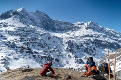 Vivian Bruchez and Paul Bonhomme observing the East Face of Combin de la Tsessette, Switzerland