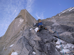 An attempt on the Bibler-Klewin route on Mt. Hunter, Alaska.