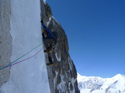 On the 4th ascent of the Grison-Tedeshi route on Mt. Hunter.
