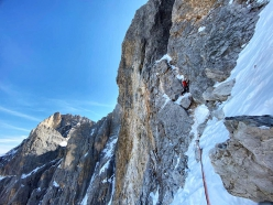 Emanuele Andreozzi making the first ascent of Elements of Life on the north face of Cimon della Pala, Pale di San Martino, Dolomites