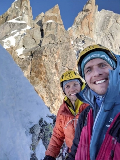 John McCune and Will Sim making the first ascent of Above and Beyond on Aiguille de Pélerins in the Mont Blanc massif