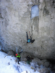 Lorenzo Angelozzi making the first on-sight ascent of Mountain Evolution M8