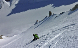 Extreme skiing in the Mont Blanc mountain range