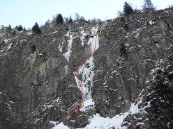 Aerofagia - Il piccolo scozzese (III WI 4+°, 115m), Val di Saviore/Val Adamè, Gruppo Adamello-M.te Fumo.