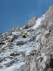 Barry Bona on pitch 2 of Cugi's Corner, NW Face Cimon di Palantina, Dolomites