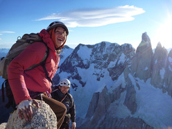 Sean Villanueva, Cintia Percivati and Raoul Martinez during the first free ascent of Golden Eagle (7a/7a+, 700m), Aguja Desmochada, Patagonia.