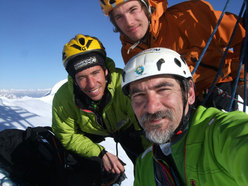 Yuri Parimbelli G.A., Tito Arosio, Ennio Spiranelli CAAI after the first ascent of Via Piantobaldo, NW Face of Western Presolana