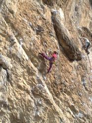 Eva Scroccaro redpointing her first 8a, Giljotina at Misja Pec, Slovenia