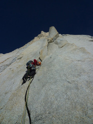 Sean Villanueva leading pitch 4, East Face of Fitz Roy, Patagonia.