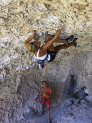 Sasha DiGiulian climbing at Rodellar, Spain