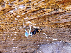 Sasha DiGiulian climbing at the Red River Gorge, USA