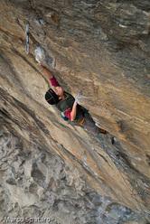 Tito Traversa climbing Criptonite 8b at Tetto di Sarre, Valle d'Aosta, Italy