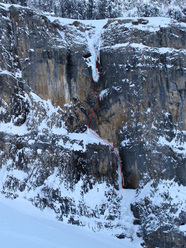 The Peach (110m, WI5 M8) at Storm Creek in the Canadian Rockies, established on 12/03/2011 by Raphael Slawinski and Grant Meekins.