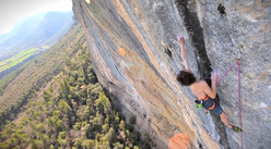 Adam Ondra onsighting Mind Control (8c+) at Oliana, Spain