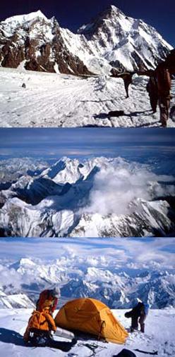 Sopra: Avvicinamento al K2, la seconda montagna della terra. In mezzo: Il Broad Peak (8047m) dalla cima del K2. Sotto: Ultimo campo a 8000m sulla spalla della via dello Sperone Abruzzi. Il paesaggio è mozzafiato come l'alpinismo in Himalaya.