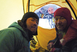 Yasushi Okada and Katsutaka Yokoyama during their ascent up Mount Logan