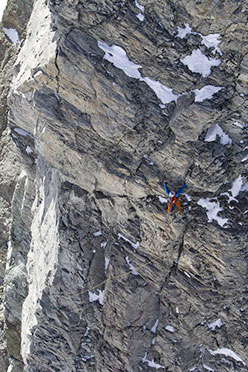 Italian alpinist Hervé Barmasse making the first ascent of a new route up the South Face of Picco Muzio, Matterhorn, in 2011