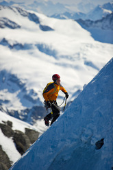 Dani Arnold during his record ascent of the Heckmair route on the Eiger.
