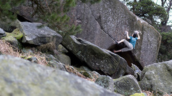 The Ace, legendary 8b established by Jerry Moffatt at the Stanage Plantation boulders