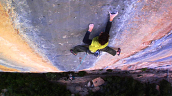 Dave Graham making the fourth ascent of Realization 9a+, Ceuse