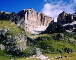 Sass Pordoi from the Pordoi pass, Dolomites, Italy
