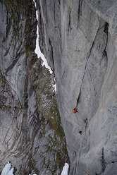On the third pitch of Arctandria 8b, Norway