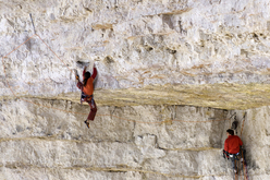 Alexander Huber during the first ascent of Pan Aroma 8c, Cima Ovest, Lavaredo, Dolomites