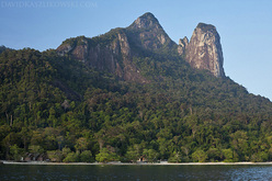 Bukit Nanek Simukut, also known as Dragon's Horns or Twin Peaks, on Tioman Island, Malaysia