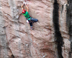 James Pearson during the first ascent of Do you know where your children are? at Huntsman's Leap, Pembroke, Wales.