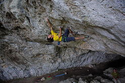 Luka Zazvonil during the first ascent of Miza za šest, or Table for Six 8c+/9a at Kotečnik in Slovenia.