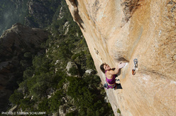 Swiss climber Nina Caprez making the third ascent (and first female ascent) of Délicatessen at Punta d'u Corbu at Col de la Bavella, Corsica