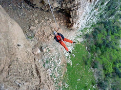 The abseil from pitch 3 of La banda del buco - Antro della Perciata, Palermo, Sicily