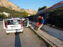 Rolando Larcher & Luca Giupponi studying the route line of La banda del buco - Antro della Perciata, Palermo, Sicily