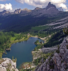 The beautiful Lago di Fedéra at Croda da Lago, Dolomites.