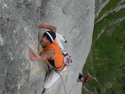 "Riccardo ""Sky"" Scarian carrying out the third ascent on 07 August 2007."