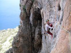 Tiia Porri sale Inspiration (7a+, 150m) Telendos, Kalymnos, Greece. Prima salita Simon Montmory 04/2011