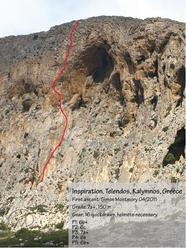 Inspiration (7a+, 150m) Telendos, Kalymnos, Greece. Prima salita Simon Montmory 04/2011