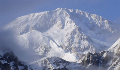 The impressive South Face of Denali with the immense Cassin ridge in the centre. First ascended from 6 - 19 July 1961 by the Italian Ragni di Lecco members Luigino Airoldi, Gigi Alippi, Jack Canali, Riccardo Cassin, Romano Perego and Annibale Zucchi, the elegant and challenging line is one of the most famous and sought-after alpine routes in the world.