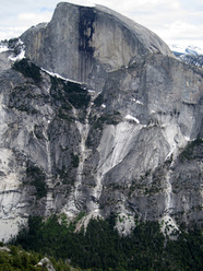 Half Dome in Yosemite and the Death Slabs approach.