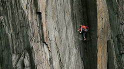 Steve Mcclure on The Quarryman E8, Dinorwig slate, North Wales