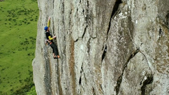 Jorg Verhoeven on-sighting Strawberries E6, Tremadog, North Wales