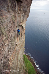 Dave Macleod making the first free ascent of The Long Hope Route at St John's Head, Orkneys, Scotland