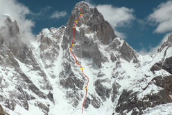 The line taken by Russian mountaineers Alexander Odintsov, Alexey Lonchinskiy, Ivan Dozhdev and Eugeniy Dmitrienko up the West Face of Latok III (6949m) (Karakoram) Pakistan.